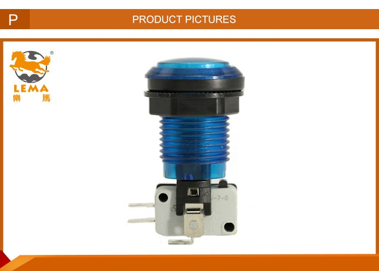 Lema PBS-003 blue led push button switch with micro switch for arcade machine